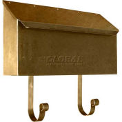 Provincial Series Horizontal Wall Mount Mailbox in Hammered Antique Brass