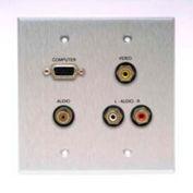 Comprehensive Double Gang Wallplate, Stereo Mini, 3RCA Passthru, Kydex White-VGA
