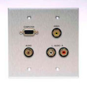 Comprehensive Double Gang Wallplate, Stereo Mini, 3RCA Passthru, Stainless White-VGA