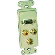 Comprehensive Single Gang Wallplate, RCA(3) RGB Passthru, HD15F(1), White Decora-Style Insert