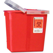 """Covidien 2-Gallon Biohazard Sharps Container with Hinged Lid, 10-1/2""""W x 7-1/4""""D x 10""""H, Red"""