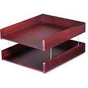 Genuine Hardwood Double Desk Tray, Letter Size, Mahogany Finish