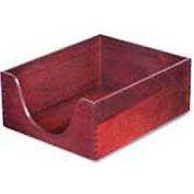 "Genuine Oak Desk Tray, Letter Size, Double Deep, 5""H, Mahogany Finish"
