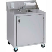 Crown Verity CV-PHS-4C Single Bowl Cold Water Portable Hand Sink Cart