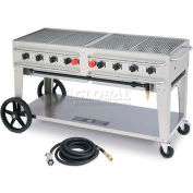 "Crown Verity Rental Mobile Grill 60"" LP - Single Inlet - RCB-60-SI"