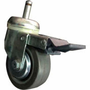 "Darnell-Rose Swivel Grip Ring Stem Caster With Brake 900882 Polyurethane 3-1/2"" Dia. 300 Lb. Cap."