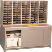 Mail Master Legal Size Workstation 7, Sapelli Mahogany Laminate Top Medium Gray