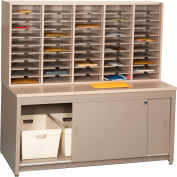 Mail Master Oversize Workstation 7, Sapelli Mahogany Laminate Top Medium Gray