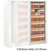 Rotary File Cabinet Adder Unit, Legal, 5 Shelves, Bone White