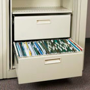 Rotary File Cabinet Components, Letter File/Storage Drawer, Locking, Bone White