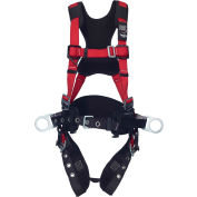 Protecta® 1161207 Comfort Construction Style Positioning Harness, Tongue Buckle & Pass Thru, XL