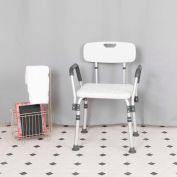 Flash Furniture Hercules Series Adjustable Height Bath Chair with Quick Release Back & Arms, White