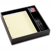 DACASSO® Classic Black Leather Conference Room Organizer Tray