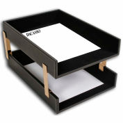 DACASSO® Rustic Black Leather Double Legal Trays