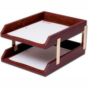 DACASSO® Mocha Leather Double Letter Trays