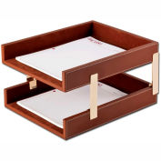 DACASSO® Rustic Brown Leather Double Letter Trays