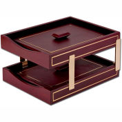 DACASSO® Burgundy 24Kt Gold Tooled Double Letter Trays w/Lids