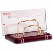 DACASSO® Burgundy Gold-Striped Leather Letter Holder