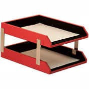 DACASSO® Red Contemporary Leather Double Letter Trays