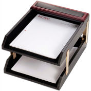 DACASSO® Rosewood & Leather Double Letter Trays
