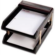 DACASSO® Walnut & Leather Double Letter Trays