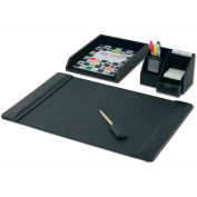 DACASSO® Black Leather 4-Piece Desktop Organizer Desk Set