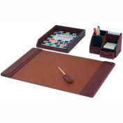 DACASSO® Mocha Leather 4-Piece Desk Set