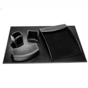 DACASSO® Dacasso Colors Faux Leather 5pc Office Organizing Desk Set - Midnight Black