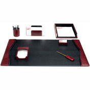DACASSO® Burgundy Contemporary Leather 7-Piece Desk Set