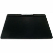 "DACASSO® Black Leather 17"" x 14"" Top-Rail Conference Pad with Pen Well"
