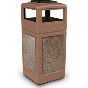 42 Gallon StoneTec® Square Receptacle with Ashtray Lid - Nuthatch w/Riverstone Panels - 720542K