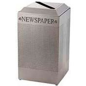 Rubbermaid® Silhouette DCR24P Recycling Container w/Newspaper Opening, 29 Gal - Silver Metallic