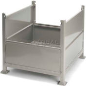 "Davco Sheet Metal Steel Container R2GS-01 - 40-1/2""x34-1/2""x32"" 2 Gates Gray"