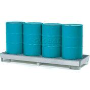 Denios K17-1104 4 Drum Inline Steel Spill Pallet, Galvanized Steel