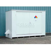 """Denios N-Series 14'W x 5' 10""""D x 8' 2""""H, Non-Combustible Outdoor Storage Building For 10 Drums"""