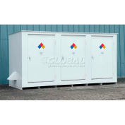 """Denios N-Series 19' 8""""W x 5' 10""""D x 5' 8""""H, Non-Combustible Outdoor Storage Building For 14 Drums"""