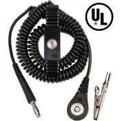 Desco Jewel® MagSnap Adjustable Metal Wrist Strap 09187 6 Ft Cord - Black