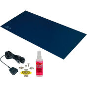 "Desco Statfree T2 Plus™ 66425 Dissipative Dual Layer Rubber Mat Top Kit 24""D x 36""W - Dark Blue"
