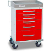 Detecto® Rescue Series Emergency Room Medical Cart, White Frame with 6 Red Drawers