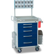 Detecto® Loaded Rescue Series Anesthesiology Medical Cart, White Frame with 5 Blue Drawers