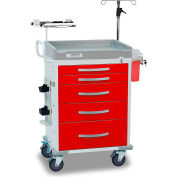 Detecto® Loaded Rescue Series Emergency Room Medical Cart, White Frame with 5 Red Drawers