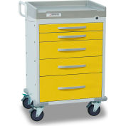 Detecto® Rescue Series Isolation Medical Cart, White Frame with 5 Yellow Drawers