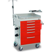 Detecto® Loaded Whisper Series Emergency Room Medical Cart, White Frame with 6 Red Drawers