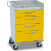 Detecto® Whisper Series Isolation Medical Cart, White Frame with 5 Yellow Drawers