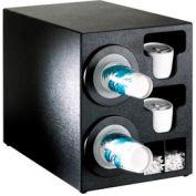 Dispense-Rite® Countertop 2 Cup Dispenser w/Organizers - Black