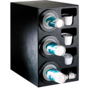 Dispense-Rite® Countertop 3 Cup Dispensing Cabinet w/Organizers - Black