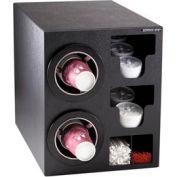 Dispense-Rite® Countertop 2 Cup Black Dispense Cabinet w/Organizers