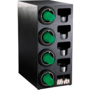 Dispense-Rite® Countertop 4 Cup Black Dispense Cabinet w/Organizers