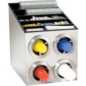 Dispense-Rite® Countertop SS 4 Cup Dispense Cabinet w/Lid & Straw Organizer