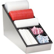 Dispense-Rite® Countertop Lid, Straw & Condiment Organizer - Narrow, SS